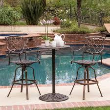 Overstock Com Patio Furniture Sets - santa maria cast aluminum brown 3 piece bistro bar set patio table