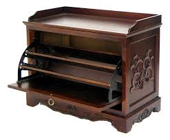 luxury carved wood shoe holder bench with door and metal hinges
