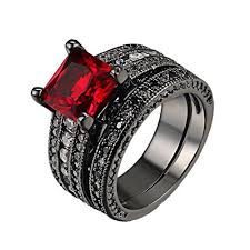 black wedding ring set d b mood 2pcs gorgeous amazing ruby black gun plated cubic