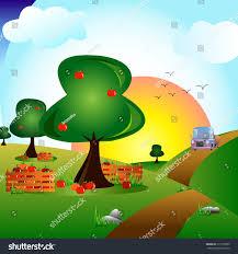 scene apple orchard stock vector 313177805 shutterstock