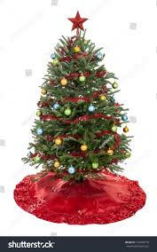 real decorated tree skirt garland stock photo 154470719