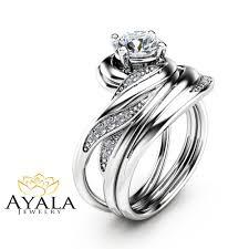 wedding ring set unique moissanite wedding ring set in 14k white gold moissanite
