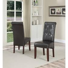 simpli home cosmopolitan tanners brown faux leather parsons dining