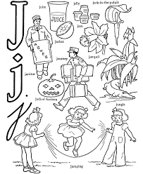 alphabet coloring page words of j printable alphabet coloring