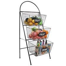 3 Shelf Wire Rack Amazon Com 3 Tier Modern Black Metal Wire Mesh Basket Floor Rack