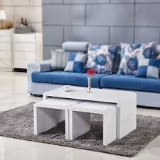 High Gloss Side Table White High Gloss Coffee Table Nest Of 3 Side End Table Set Living