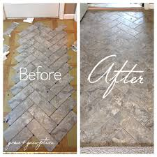 diy kitchen floor ideas diy herringbone peel n stick tile floor before and after by grace