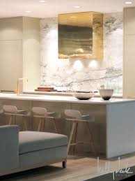 contemporary kitchen brass hood full height marble slab