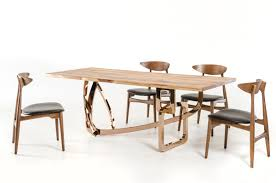 Modern Solid Wood Dining Table Auburn Modern Live Edge Wood Rosegold Dining Table