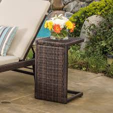 rattan side table outdoor denise austin forrest outdoor wicker side table courtyardfurniture com
