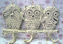 owl cast iron wall hook shabby chic hear no evil speak no evil say