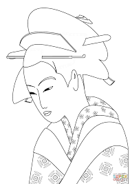 japanese woman portrait coloring page free printable coloring pages