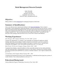 Sample Resume Objectives For Retail Jobs by Cover Letter Vendor Management