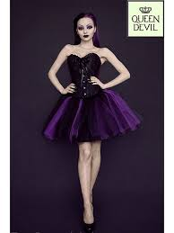 violet dress ruffled trim black corset and purple and black gown skirt
