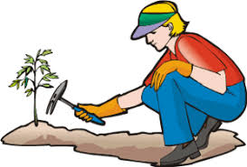 flower garden clipart image woman or watering her flowers