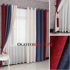 red and dark blue modern striped cheap long curtains buy dark