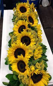 table centerpieces with sunflowers sunflower garland custom garlands from pacific coast evergreen