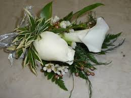 Boutonniere Flower White Calla Lily And Rose With Wax Flower Boutonniere Flowers In