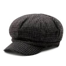 women check houndstooth tartan plaid newsboy cap black brown