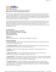 Sample Of A Good Resume Good Resume Skills Retail