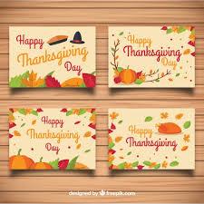 conjunto de tarjetas de thanksgiving descargar vectores gratis