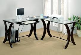 L Shaped Black Glass Desk Furniture Charming Office Area Feats L Shaped Office Desk With