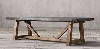 Salvaged Wood  Concrete Beam Rectangular Table Restoration - Restoration hardware dining room tables