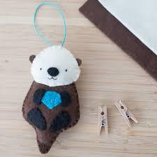 handmade felt otter ornament decorative felt animal ornament
