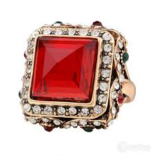 crystal pave rings images Bohemian style antique gold ring with large red square cz center JPG