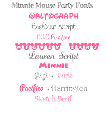 minnie mouse party fonts