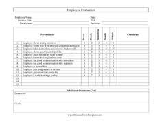 employee performance review template excel pinterest template
