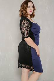 navy black two tone short sleeves lace plus size party dress