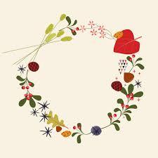 vintage christmas wreath clip art pastel color retro wreath