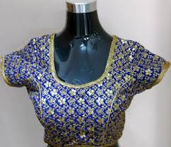 readymade blouse beautiful blue and golden floral design readymade blouse size 34