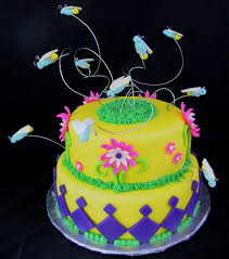fondant firefly and flower birthday cake the twisted sifter