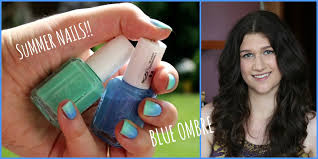 summer nails super easy and cute blue ombre nail art youtube