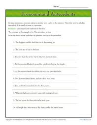 pronouns and antecedents pronoun agreement worksheet