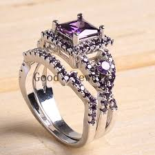 amethyst engagement ring sets sz5 10 white gold filled princess square cut amethyst