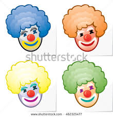 funny colors four icons funny clown face changing stock vector 462325477