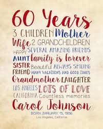 gift ideas 60 year woman birthday gift for 60th birthday 60 years gift for