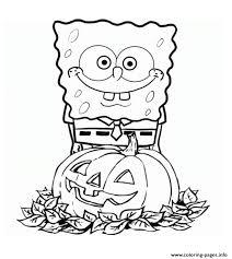 spongebob squarepants pumpkin halloween coloring pages printable