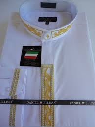 mens nehru collarless banded collar white gold embroidery dress