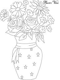 A Flower Vase Flower In Vase From Beautiful Flower Bouquet Coloring Page Color