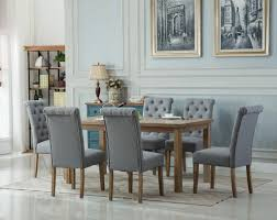 monotanian solid wood dining table with 6 tufted chairs gray