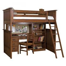 brown wooden bunk bed with white bed sheet and brown wooden study