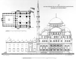 plan and side elevation of yeni valide cami new mosque
