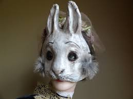 paper animal masks paper mache rabbit mask hare mask by