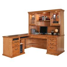 furniture wooden l shaped desk with hutch and drawer with black
