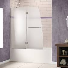 Frosted Glass Shower Door by Dreamline Aqua 48 In Frameless Hinged Tub Door Frosted 1 4 In