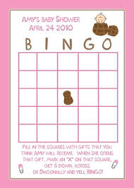baby shower bingo 24 personalized baby shower bingo cards pink peanut